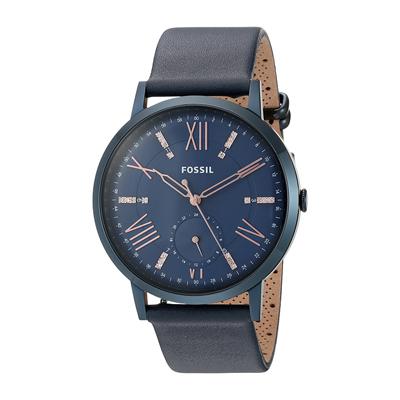 Reloj Fossil analogo, para Dama, tablero redondo, pulso cuero, calendario