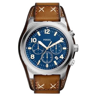 Reloj Fossil analogo, para Hombre, tablero redondo colores azul y dorado, estilo index + arabigo, pulso cuero color café, calendario, cronografo