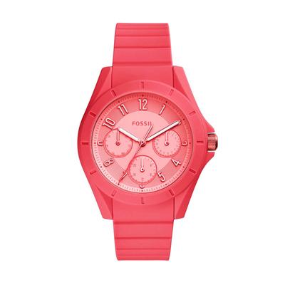 Reloj Fossil analogo, para Dama, tablero redondo color rosado, estilo arabigos, pulso silicona color rosado, calendario