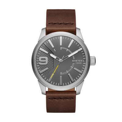 Reloj para Hombre, tablero redondo, gris, index + arabigo, analogo, pulso cuero cafe