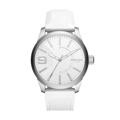 Reloj para Hombre, tablero redondo, blanco, index + arabigo, analogo, pulso silicona blanco