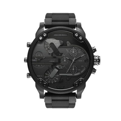 Reloj para Hombre, tablero redondo, negro, index, analogo, pulso silicona negro, calendario, cronografo