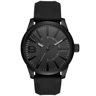 Reloj para Hombre, tablero redondo, negro, index + arabigo, analogo, pulso silicona negro
