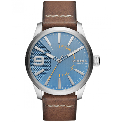 Reloj para Hombre, tablero redondo, azul, index + arabigo, analogo, pulso cuero cafe