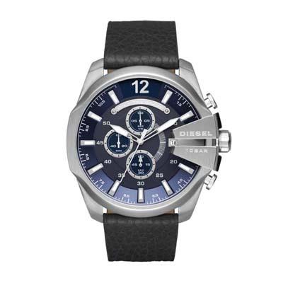 Reloj para Hombre, tablero redondo, azul, index + arabigo, analogo, pulso cuero negro, calendario