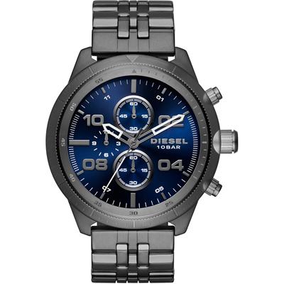 Reloj para Hombre, tablero redondo, azul, index + arabigo, analogo, pulso metalico metalico