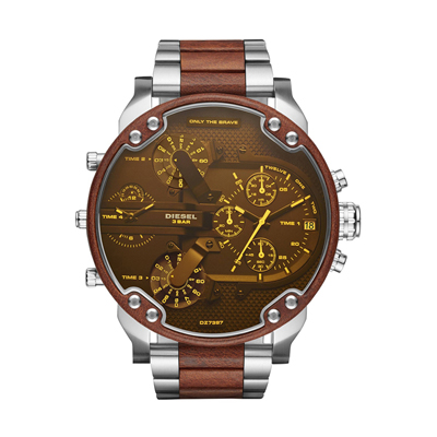 Reloj para Hombre, tablero redondo, amarillo, index + arabigo, analogo, pulso metalico metalico, calendario