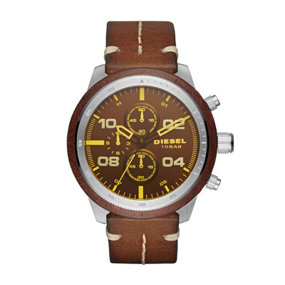Reloj para Hombre, tablero redondo, amarillo, index + arabigo, analogo, pulso cuero cafe, calendario
