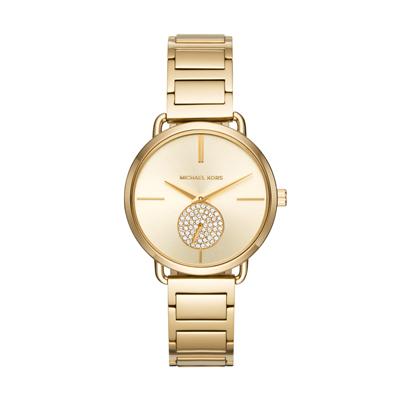 Reloj para Dama, tablero redondo, dorado, index, analogo, pulso metalico metalico