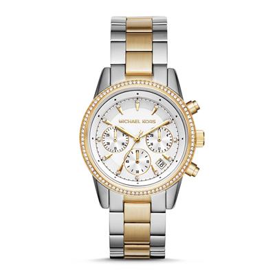 Reloj para Dama, tablero redondo, blanco, index, analogo, pulso metalico metalico, calendario
