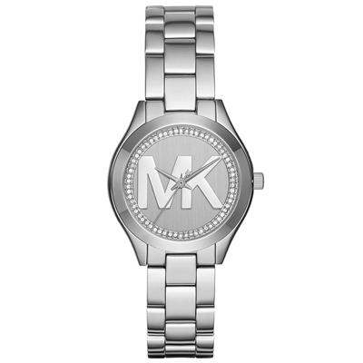 Reloj para Dama, tablero redondo, silver, sin numeros, analogo, pulso metalico metalico