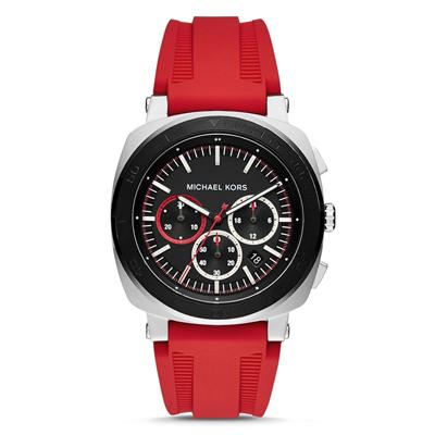 Reloj para Hombre, tablero redondo, negro, index, analogo, pulso silicona rojo, calendario