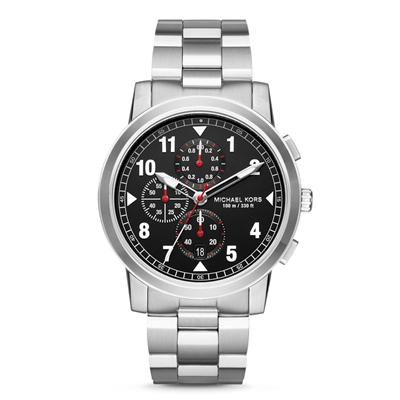 Reloj para Hombre, tablero redondo, negro, index, analogo, pulso metalico metalico, calendario