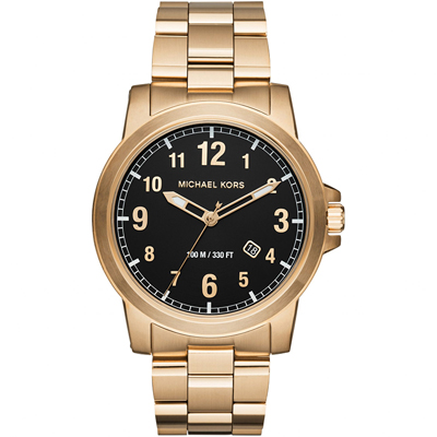 Reloj para Hombre, tablero redondo, negro, arabigo, analogo, pulso metalico metalico, calendario