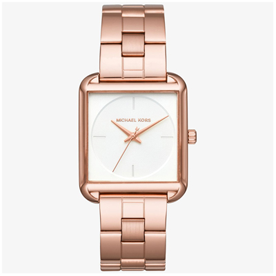 Reloj Mkors analogo, para Dama, tablero cuadrado color blanco, estilo index, pulso metalico color rosa