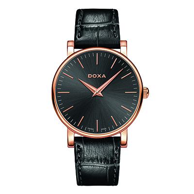 Reloj para Dama, tablero redondo, gris, index, analogo, pulso cuero negro
