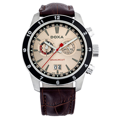 Reloj para Hombre, tablero redondo, rosa, index, analogo, pulso cuero cafe, calendario