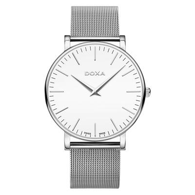 Reloj para Hombre, tablero redondo, blanco, index, analogo, pulso metalico metalico