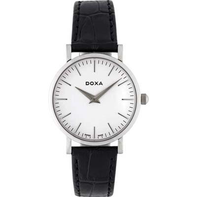 Reloj para Dama, tablero redondo, blanco, index, analogo, pulso cuero negro