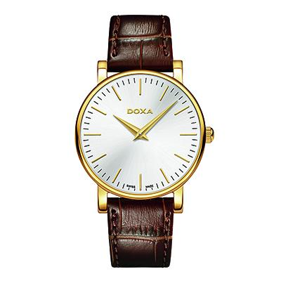 Reloj para Dama, tablero redondo, silver, index, analogo, pulso cuero cafe