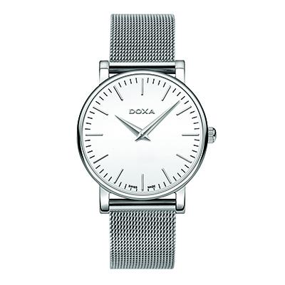 Reloj para Dama, tablero redondo, blanco, index, analogo, pulso metalico metalico