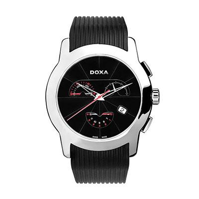 Reloj para Hombre, tablero redondo, silver, index, analogo, pulso rubber negro, cronografo