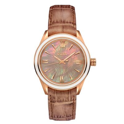 Reloj para Dama, tablero redondo, madreperla, index + romano, analogo, pulso cuero cafe