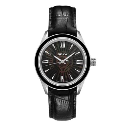 Reloj para Dama, tablero redondo, madreperla, index + romano, analogo, pulso cuero negro