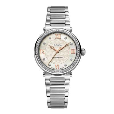 Reloj para Dama, tablero redondo, madreperla, puntos + romanos, analogo, pulso metalico metalico