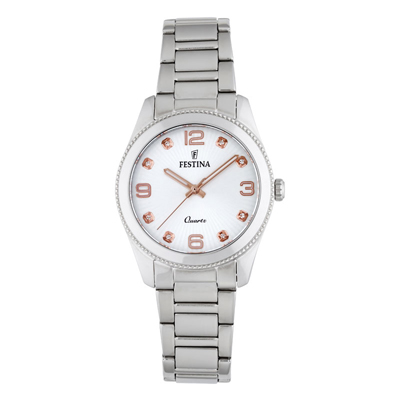 Reloj, tablero redondo, silver, index + puntos, analogo, pulso metalico silver