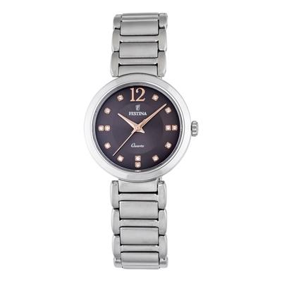 Reloj, tablero redondo, negro, index + puntos, analogo, pulso metalico silver
