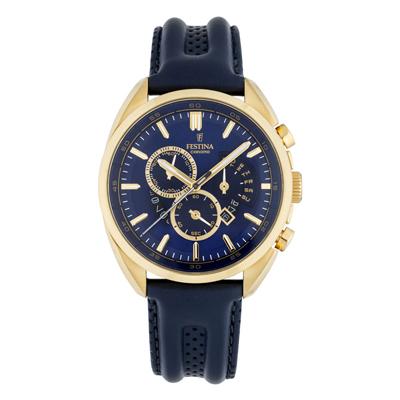 Reloj, tablero redondo, azul, index + puntos, analogo, pulso cuero azul, calendario, cronografo