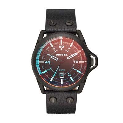 Reloj para Hombre, tablero redondo, colores, index, analogo, pulso cuero negro, calendario