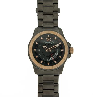 Reloj para Hombre, tablero redondo, gris, index, analogo, pulso metalico metalico, calendario