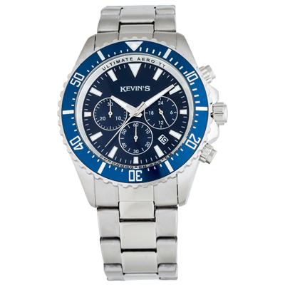 Reloj para Hombre, tablero redondo, azul, index, analogo, pulso metalico metalico, calendario