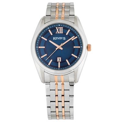 Reloj para Hombre, tablero redondo, azul, index + romano, analogo, pulso metalico metalico, calendario