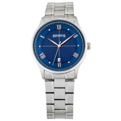Reloj para Hombre, tablero redondo, azul, puntos + romanos, analogo, pulso metalico metalico, calendario