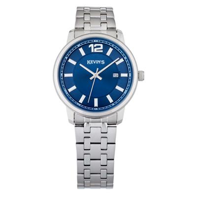 Reloj para Hombre, tablero redondo, azul, index + arabigo, analogo, pulso metalico metalico, calendario