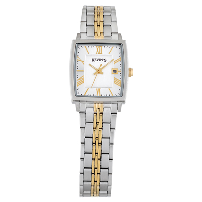 Reloj para Hombre, tablero rectangular, silver, index + romano, analogo, pulso metalico metalico, calendario