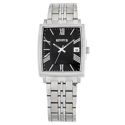 Reloj para Dama, tablero rectangular, negro, index + romano, analogo, pulso metalico metalico, calendario