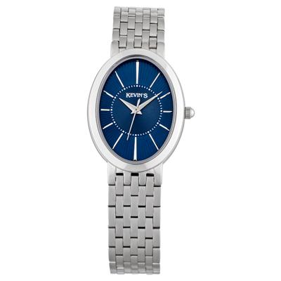 Reloj para Dama, tablero ovalado, azul, index, analogo, pulso metalico metalico