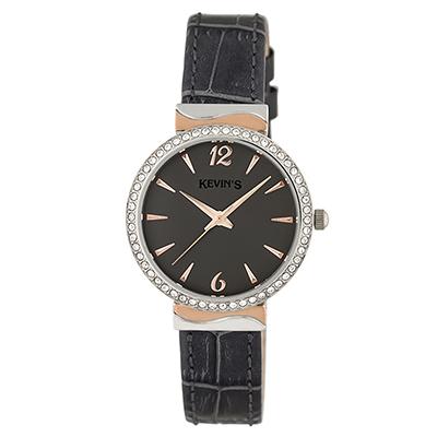 Reloj para Dama, tablero redondo, gris, index + arabigo, analogo, pulso cuero gris