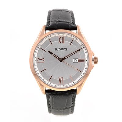 Reloj para Hombre, tablero redondo, silver, index + romano, analogo, pulso cuero negro, calendario