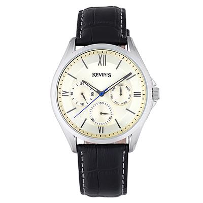 Reloj para Hombre, tablero redondo, champagne, index + romano, analogo, pulso cuero negro, calendario
