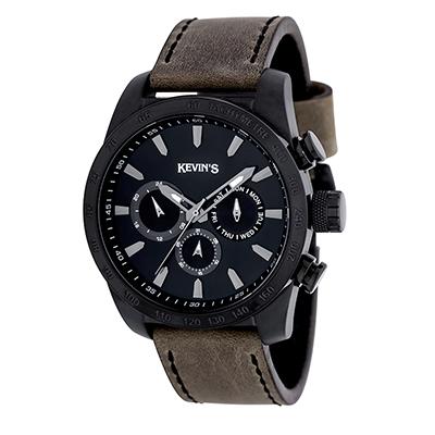 Reloj para Hombre, tablero redondo, negro, index, analogo, pulso cuero verde