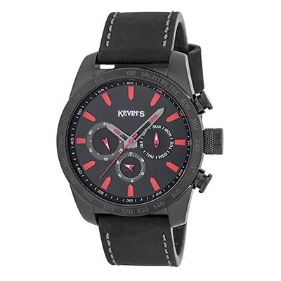 Reloj para Hombre, tablero redondo, negro, index, analogo, pulso cuero negro