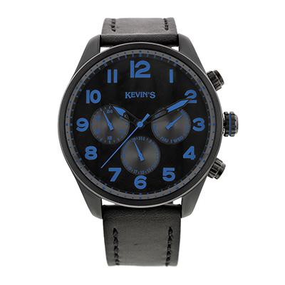 Reloj para Hombre, tablero redondo, blanco+, arabigo, analogo, pulso cuero negro