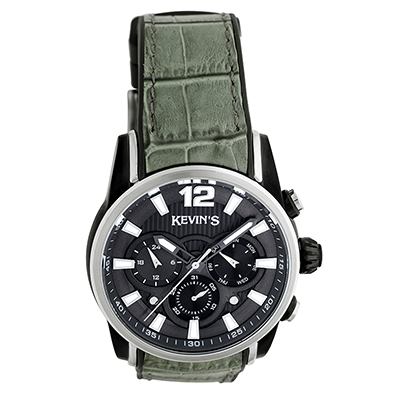 Reloj para Hombre, tablero redondo, gris, index + arabigo, analogo, pulso rubber verde, calendario
