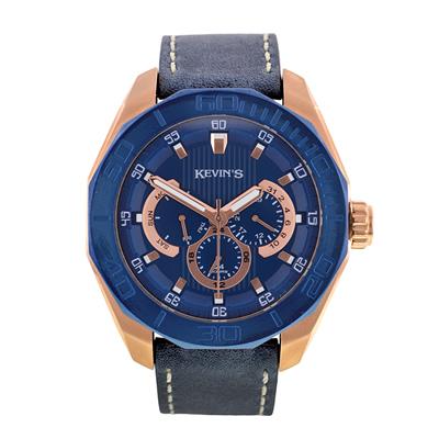 Reloj para Hombre, tablero redondo, azul, index, analogo, pulso cuero azul