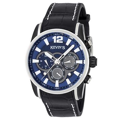 Reloj para Hombre, tablero redondo, azul, index + arabigo, analogo, pulso rubber negro, calendario